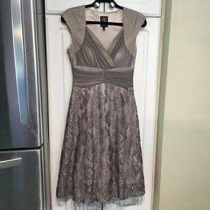 Jax Semi Formal Lace Overlay Dress w/Crossover Top